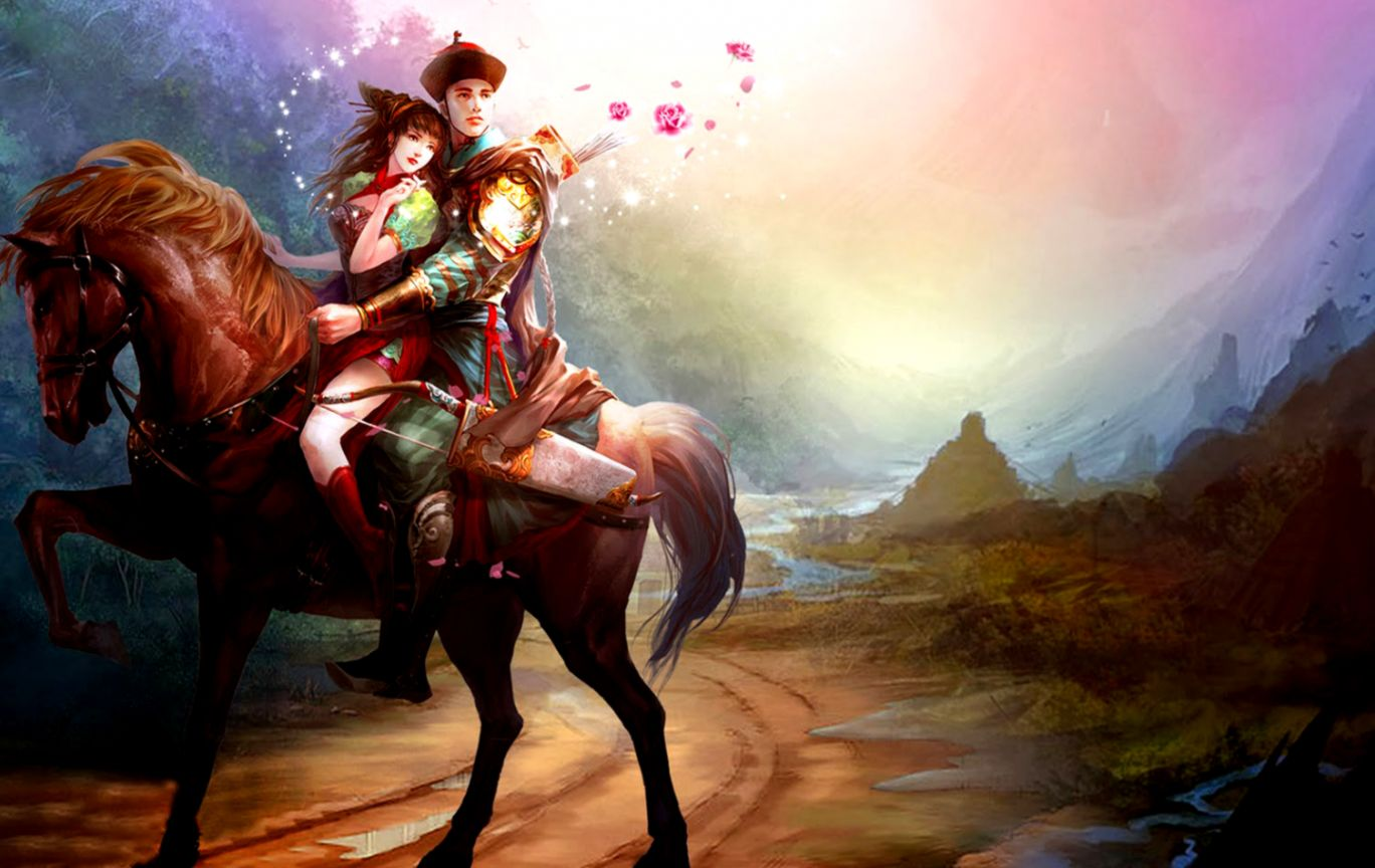 Best   Wallpaper Horse Art - asian-lovers-riding-horse-romantic-paintings-wallpapers  Trends_667527.jpg