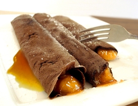 Crepe de damasco com chocolate light
