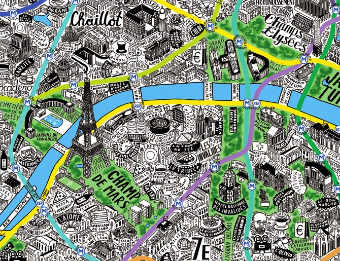jenni sparks hand drawn paris map