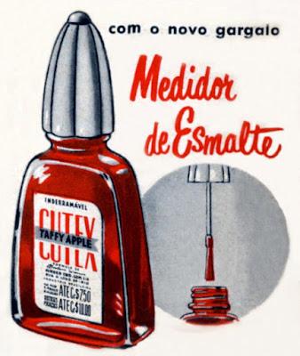 Propaganda do Esmante Cutex com embalagem que não derrama o produto em 1952.