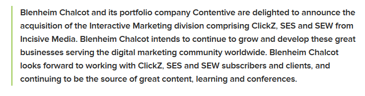 ClickZ, SES, and Search Engine Watch Acquired by UK's Blenheim Chalcot