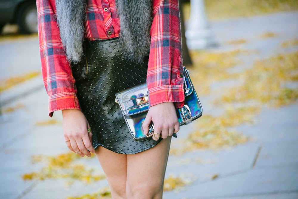 Plaid, fur, leather, hologram purse | In good faith, Tess
