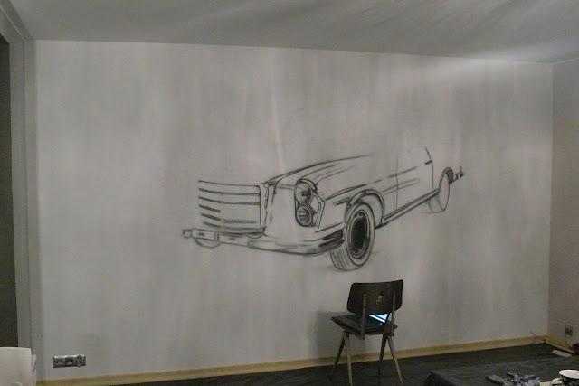 Malowanie mercedesa na ścianie, stary mercedes, obraz 3D, mural mercedesa