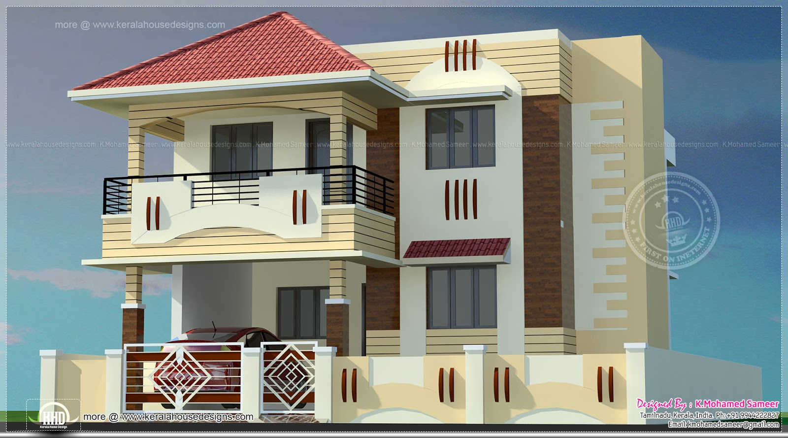 India villa elevation in 3440 home kerala plans Indian home exterior design photos
