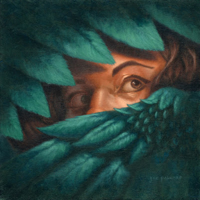 A woman hides and guards herself with her beautiful blue/green wings.