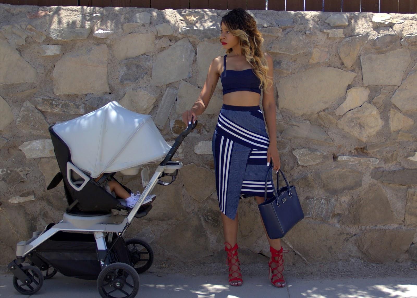 allthingsslim, ombre hair, orbit baby stroller, pencil skirt outfit