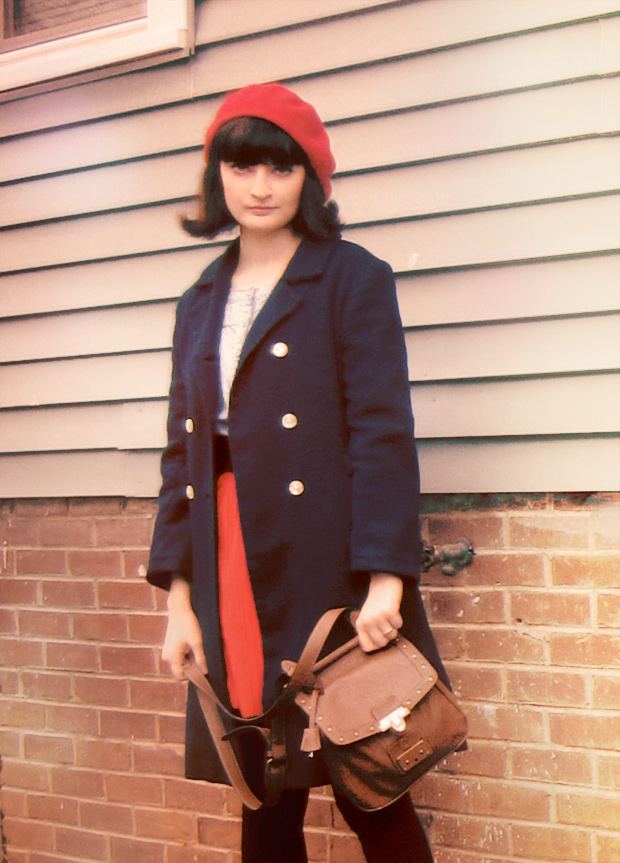Vintage navy wool coat, red skirt