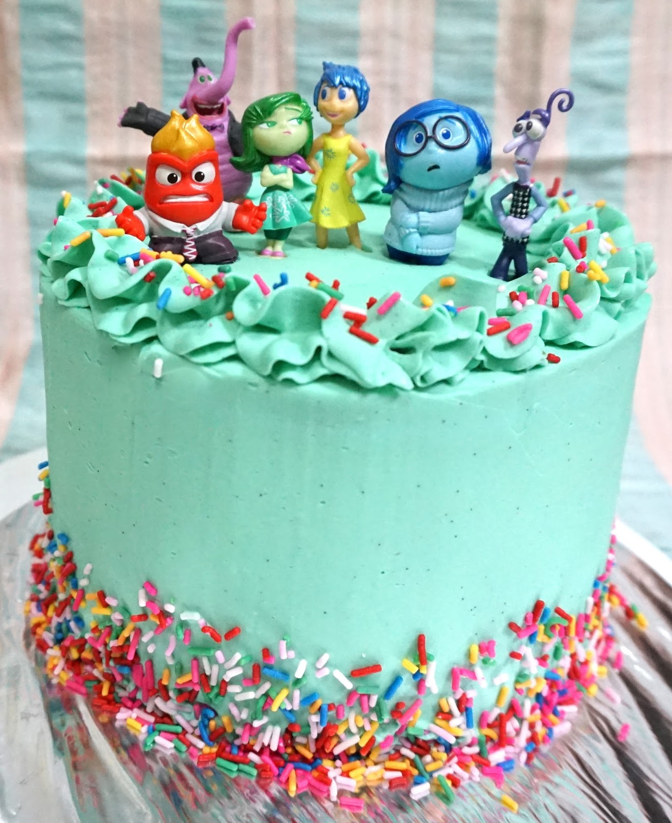 Inside Out Movie Rainbow Cake With Tiffany Green Frosting