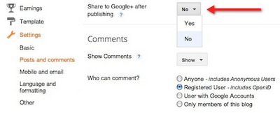 googleplus settings for blogger