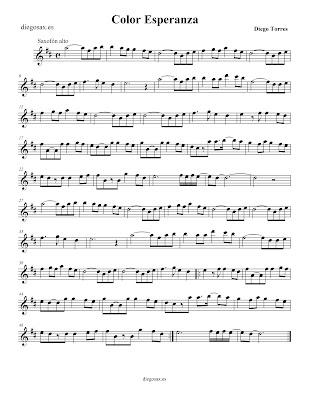 Partitura Color Esperaza, de Diego Torres - Saxofón alto   Color Esperanza, Diego Torres. Saxophone Sheet Music