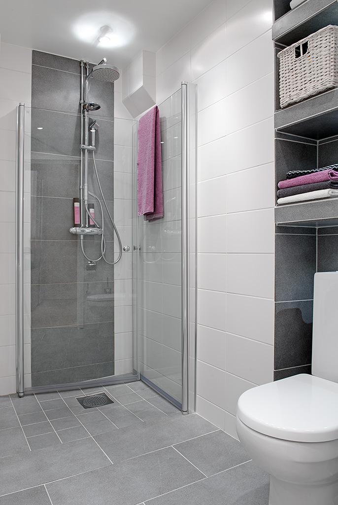 Baño Blanco Con Gris:Decoración Fácil: APARTAMENTO ESTILO NORDICO EN BLANCO, NEGRO Y GRIS
