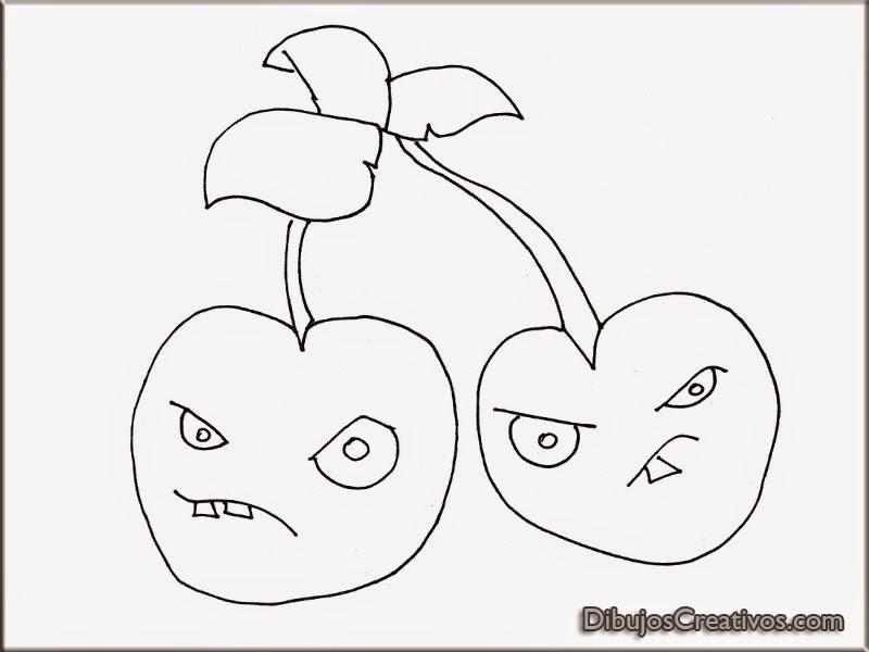 dibujos PETACEREZA PLANTAS VS ZOMBIES para colorear