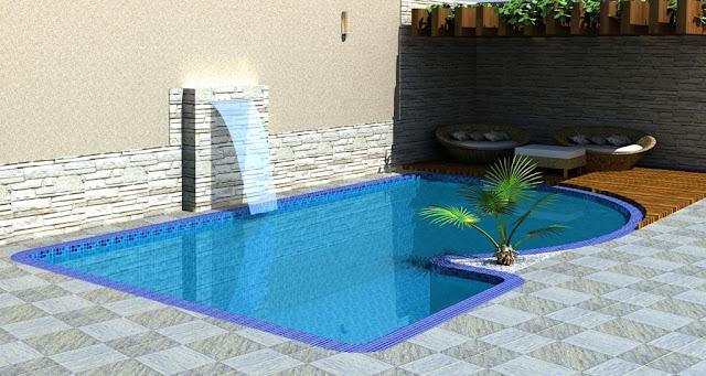Uma piscina pequena pode cer instalado uma cascata, nesse projeto de piscina foi construído uma cascata cascata de parede.