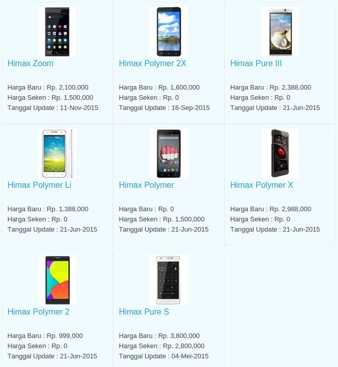 Daftar Harga Hp Himax Desember 2015