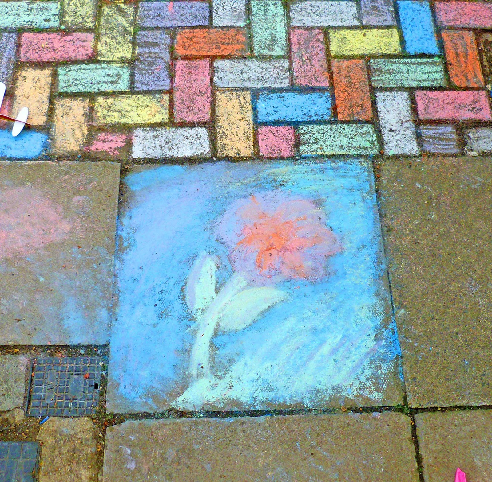 Photo of a mauve and coral flower chalked onto a pavement