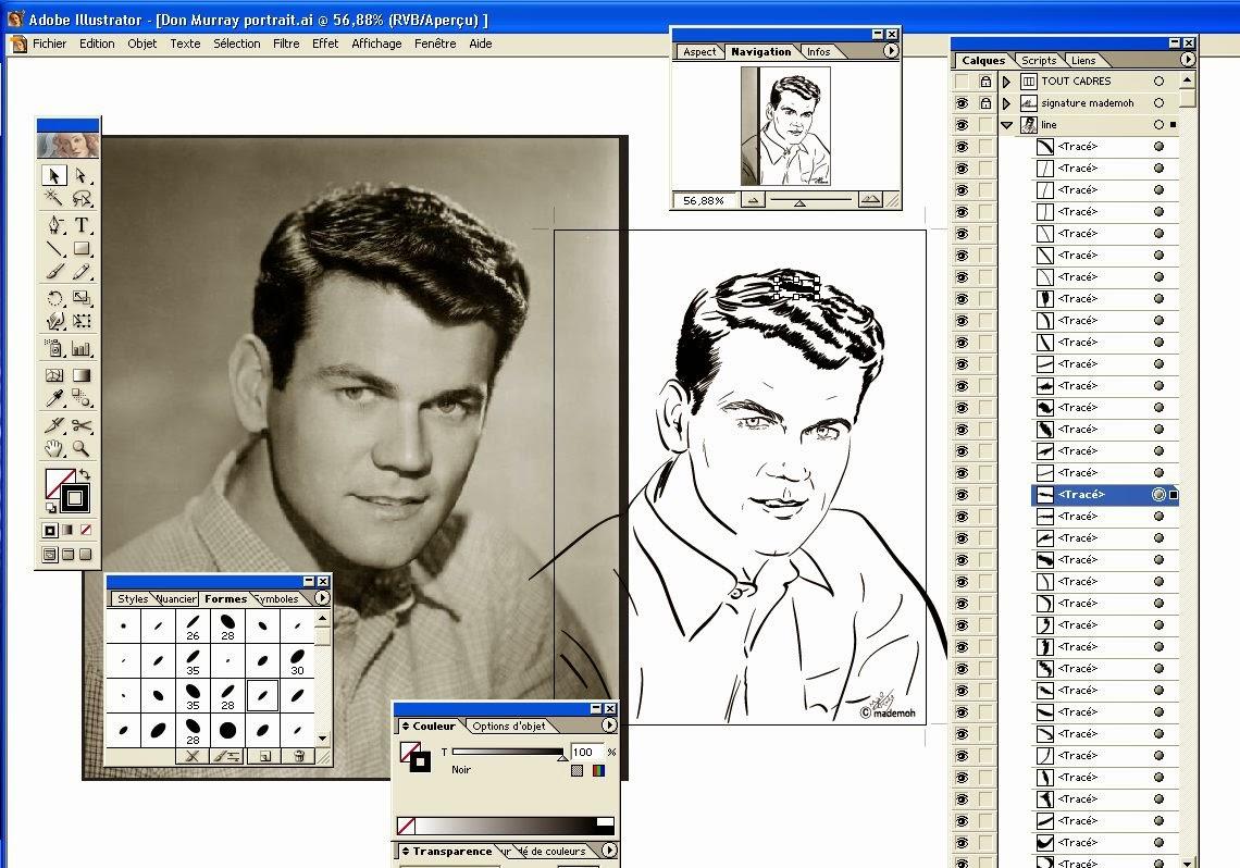 Don murray portrait illustration couleur etape dessin comicstar - Dessin annee 60 ...