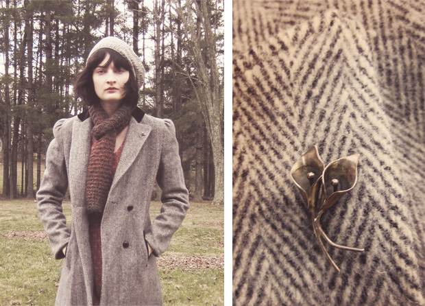 Tweed and calla lillie brooch