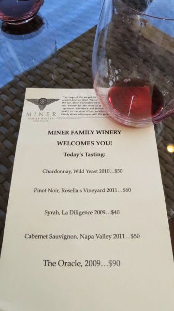 Miner Family Winery tasting menu