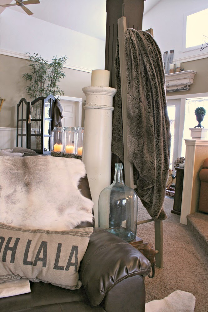 Salvage Column Candle Stand, Flameless Candle, Old Ladder, Faux Fur Blanket, Demi John Bottle
