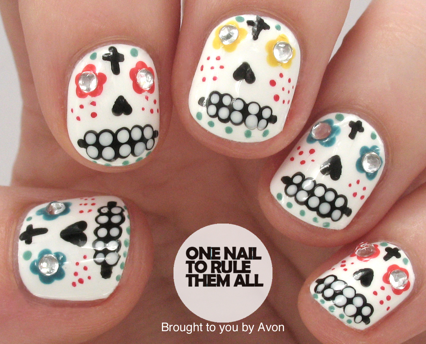 One Nail To Rule Them All: Sugar Skulls Nail Art for Avon