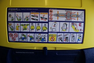 back of a Ryanair seat showing safety instructions