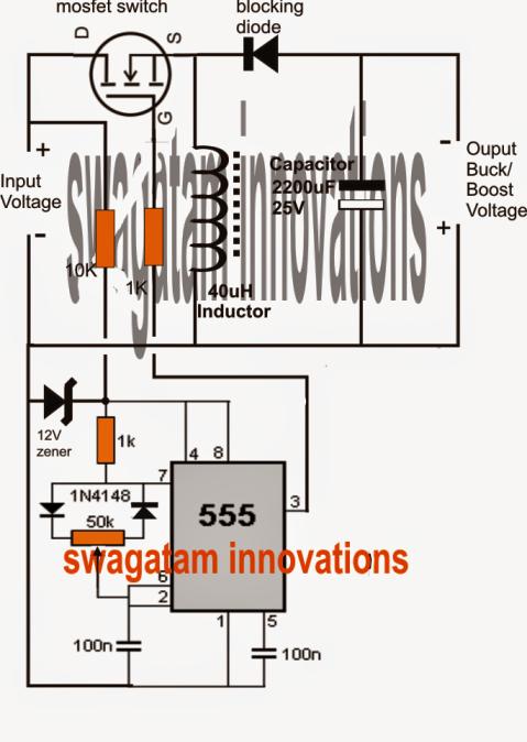 buck boost circuit using ic 555 electronic circuit projects buck boost circuit using ic 555