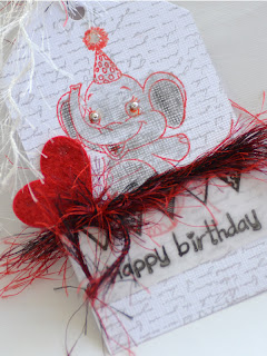 Birthday Tag with Elephant's Love - details