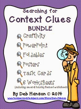 http://www.teacherspayteachers.com/Product/Context-Clues-BUNDLE-Craftivity-PowerPoint-Task-Cards-Worksheets-Foldable-956418