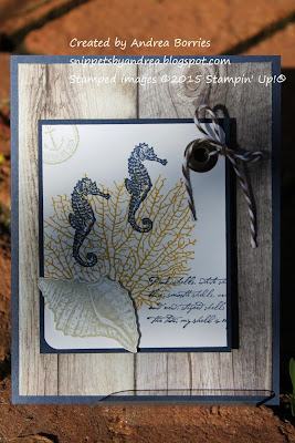 Sea-themed card with By the Tide images stamped on the focal panel and background paper of weathered boards.
