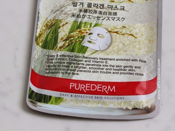 Purederm Rice Bran Collagen Mask review