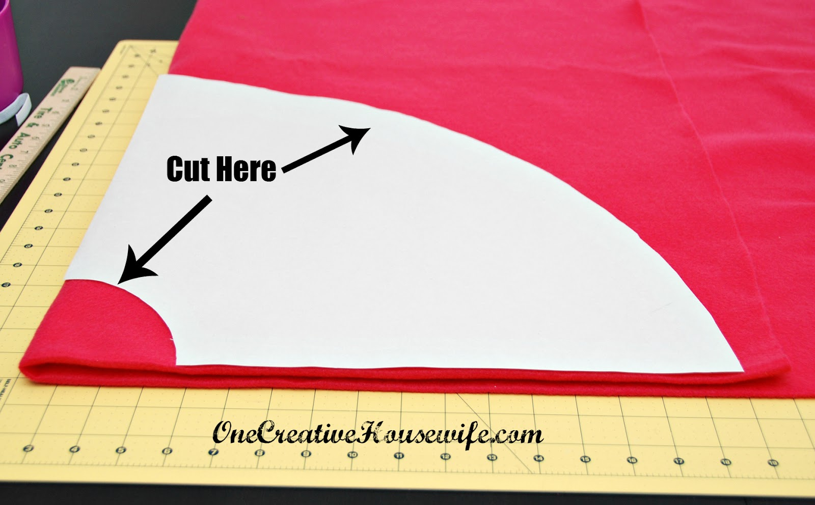 10. Cut out your 1/4 circle. Only cutting on the 2 lines you drew for ...