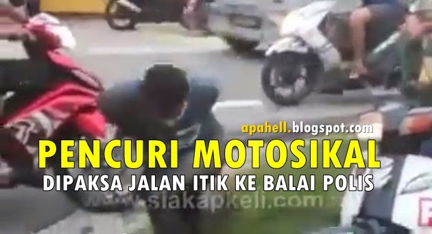 Video : Pencuri Motosikal Dipaksa Berjalan Itik Ke Balai Polis