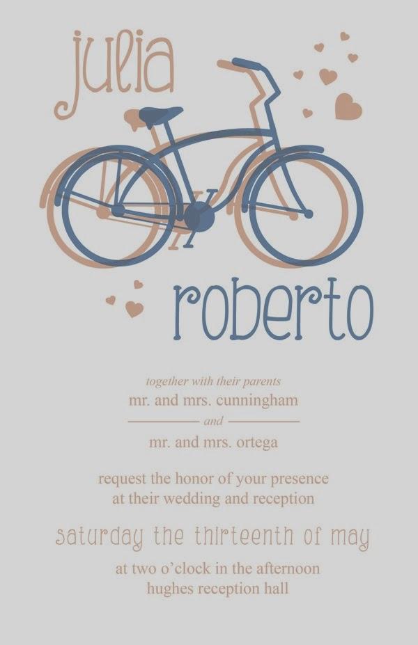 invitación de boda con bicis
