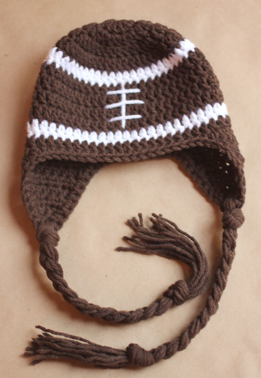 Free Crochet Pattern Earflap Beanie : Crochet Football Earflap Hat Pattern - Repeat Crafter Me