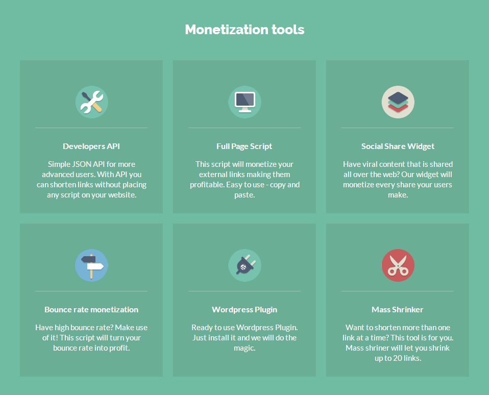 Shorte.st Monetization Tools