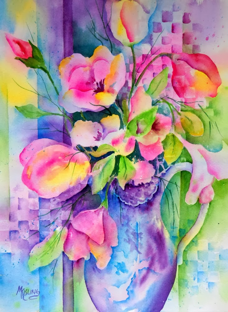 Watercolor Workshop Flowers with Decorative Patterns - Sat May 10, 2014