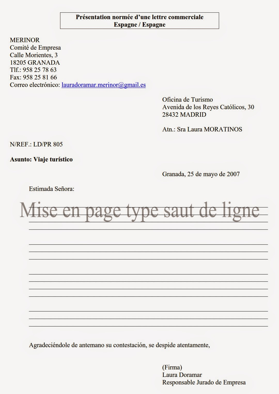 lettres commerciales en espagnol