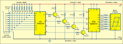 image Numeric Water-Level Indicator circuit diagram