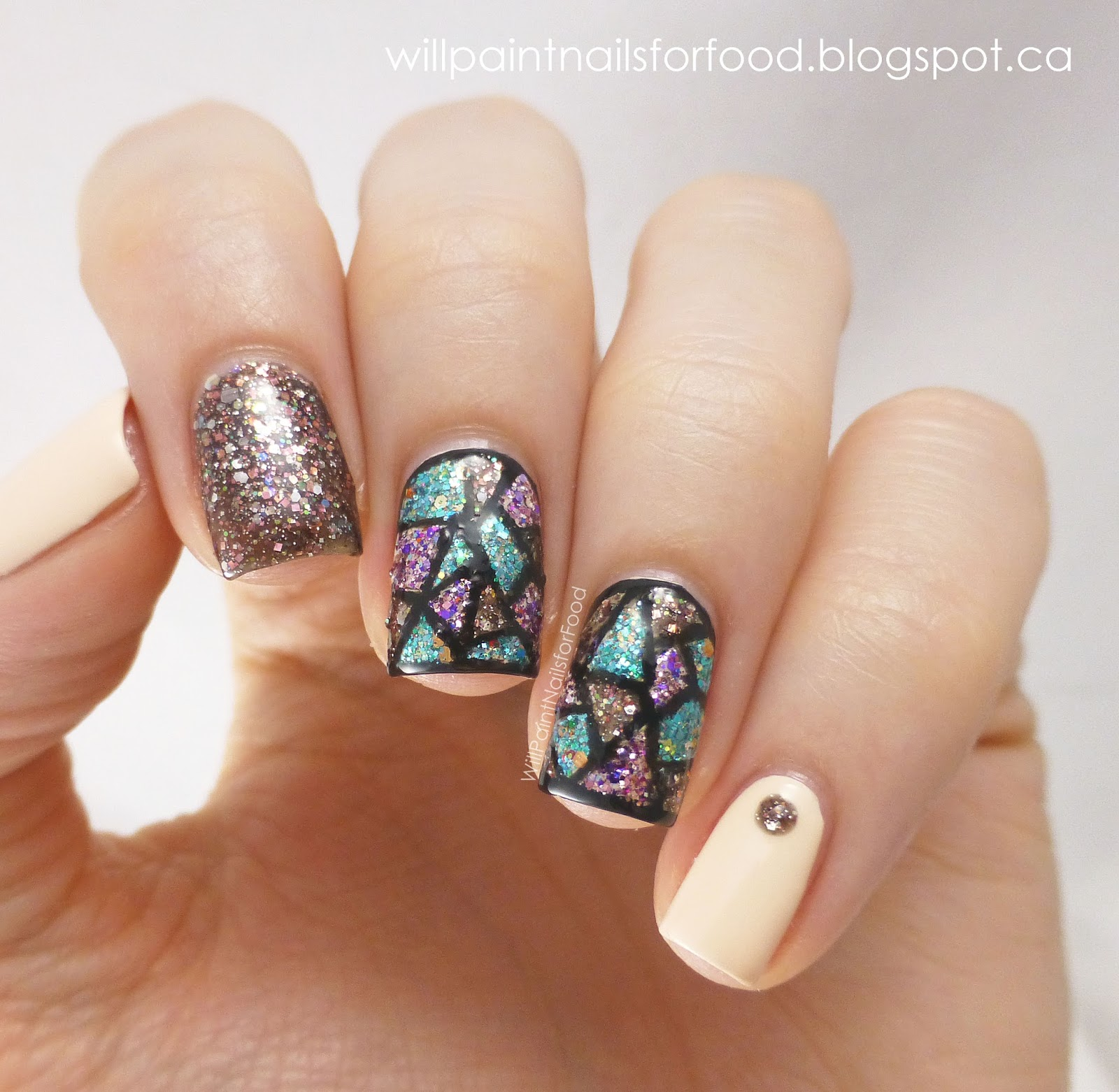 Nail Polish Art On Glass: Shimmer Polish Vivian Stained Glass Nails