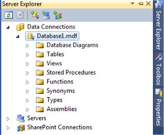 Server Explorer Database1.mdf