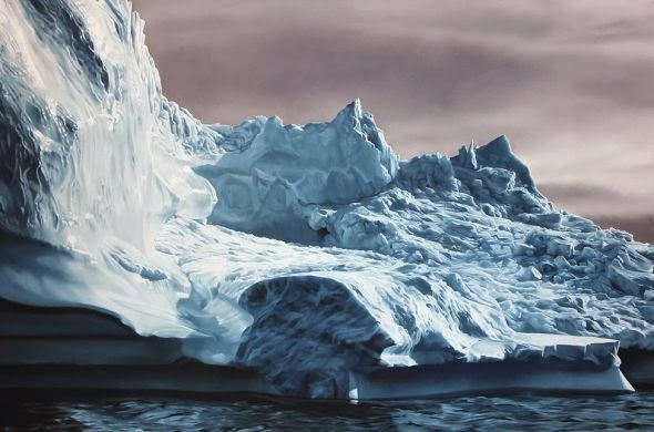 Zaria Forman photo realistic paintings landscapes nature water icebergs oceans