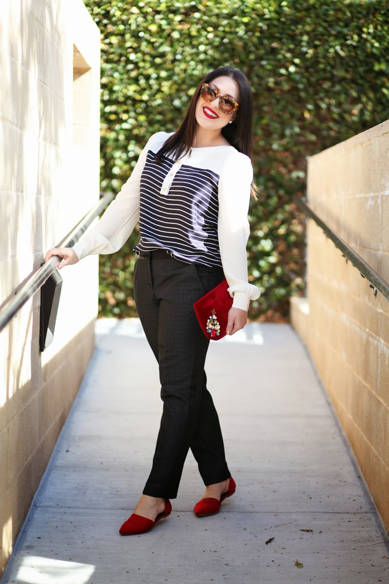 petite-halogen-tuxedo-pants-velvet-clutch-nordstrom-striped-nautical-blouse-amber-king-king-and-kind-blog-holiday-outfit-ideas