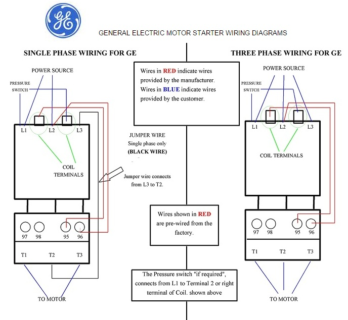 general electric motor starter 1 phase and 3 phase wiring