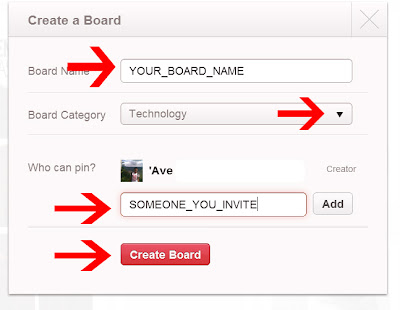 Create a board on pinterest