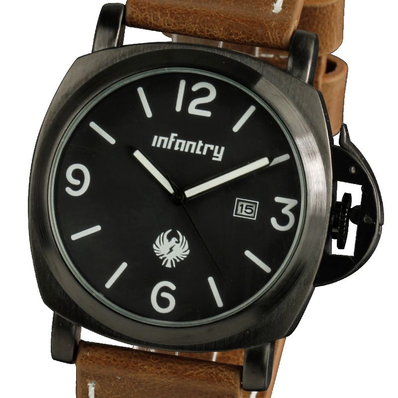 INFANTRY Stylish Mens Date Display Army Sports Brown Leather Quartz Wrist Watch