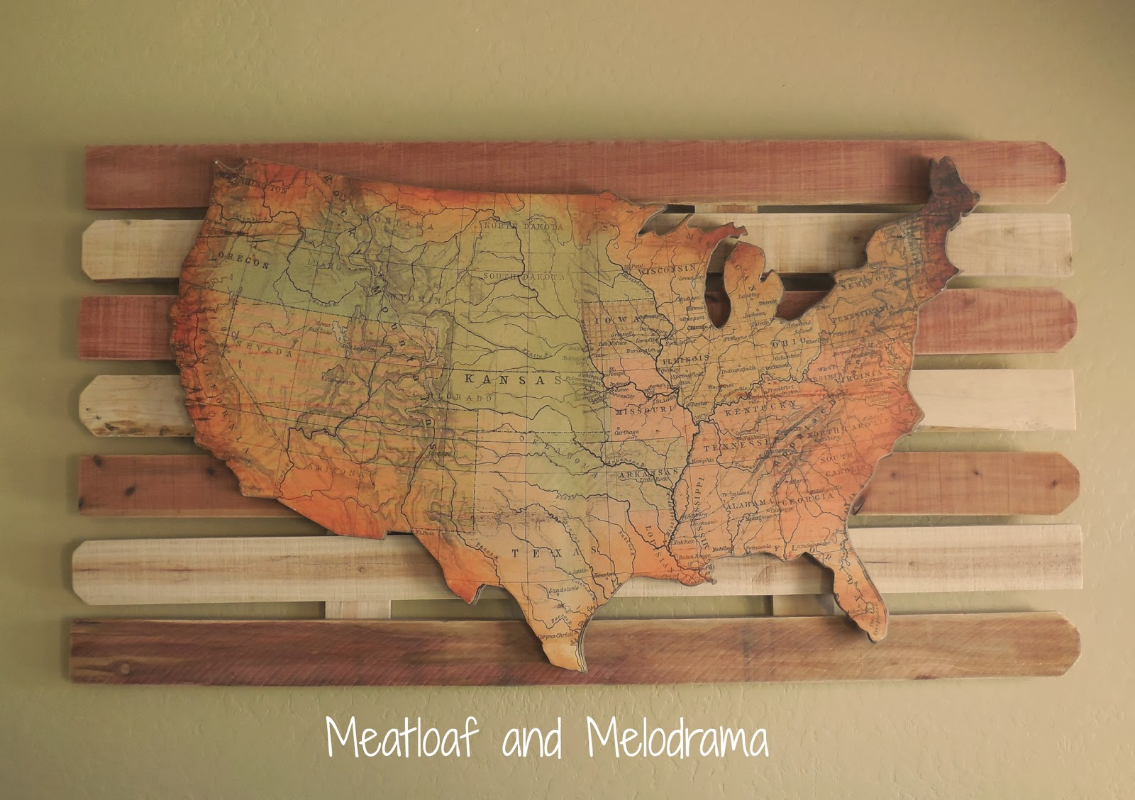 rustic wooden wall art map, Wilmington tan paint