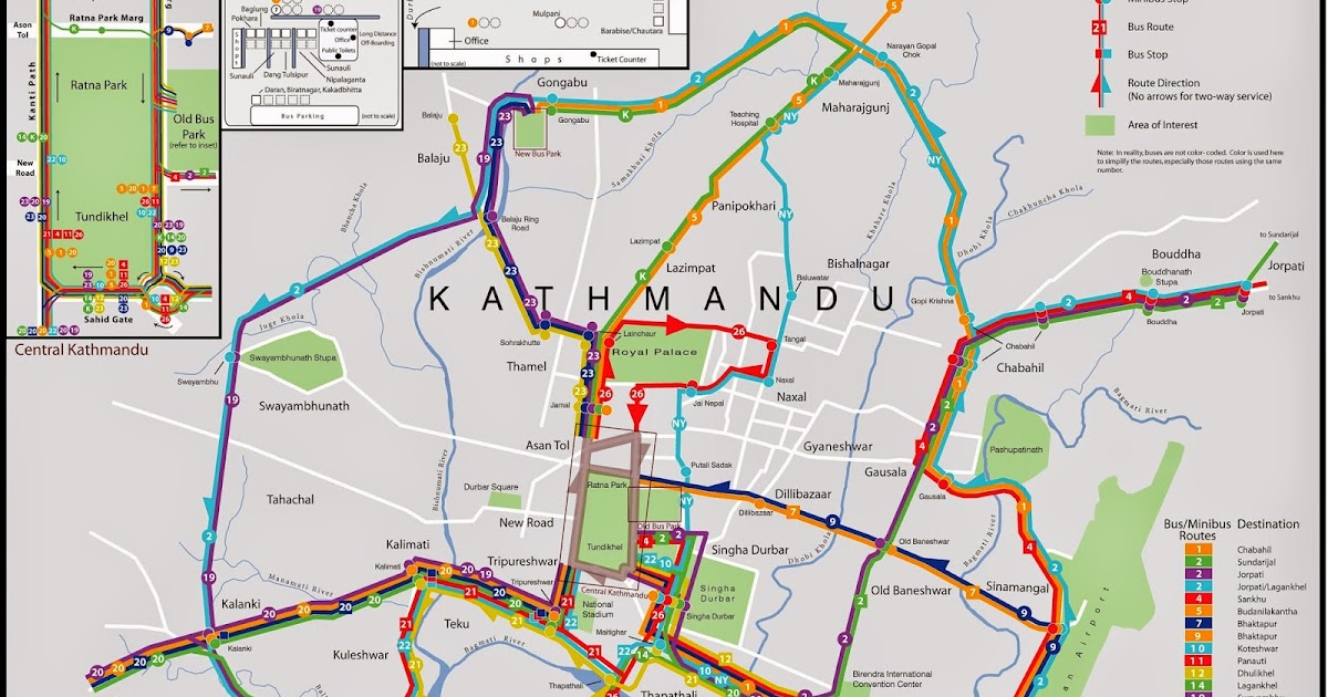 Kathmandu and Patan BusMinibus Route Map Note Nepal