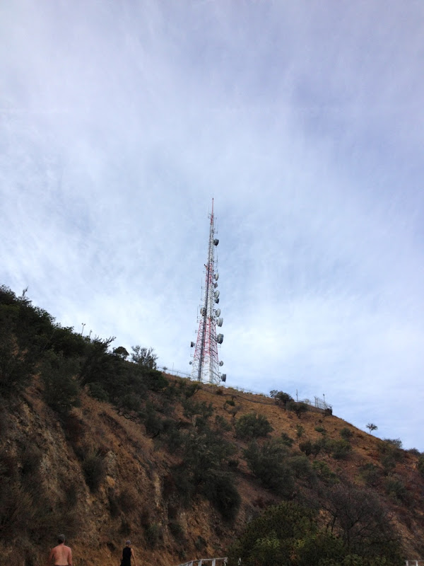 Antenna above Hollywood Sign Mount Lee