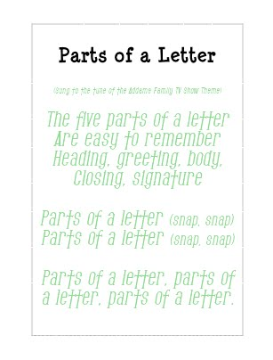 Five Parts Of A Friendly Letter Song