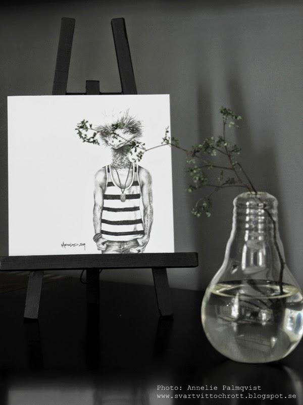 vas, vaser, glödlampa, glödlampor, floramor och krukatös, göteborg, blomsterbutik, blomsterbutiker, staffli, måla svart, print, edison vas, inspiration, mediamöbel, svart, svarta,